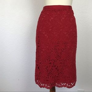 Talbots Lace Back Slit Lined Pencil Skirt